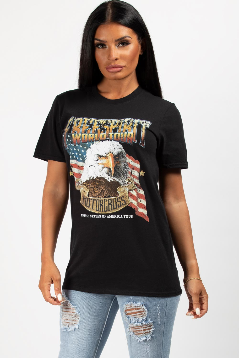 black motocross t shirt womens