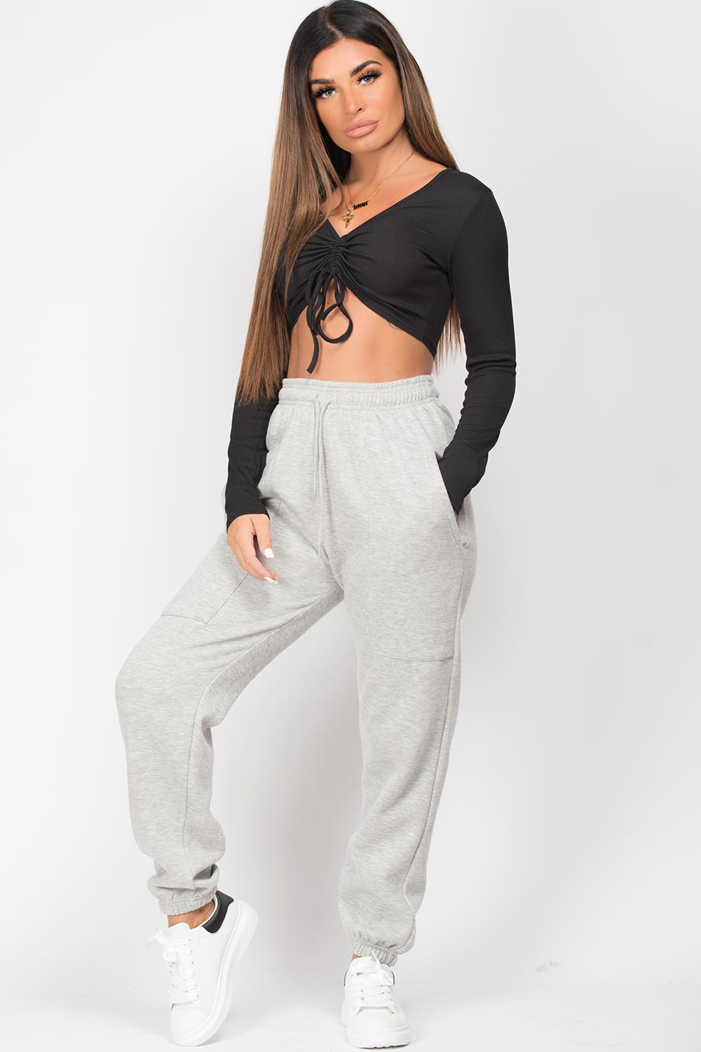 grey jogging bottoms womens