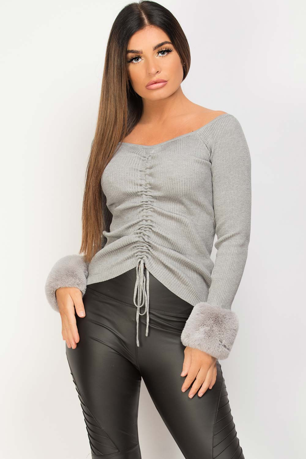 fur cuff ribbed knitted jumper