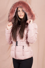puffer jacket with hood pink