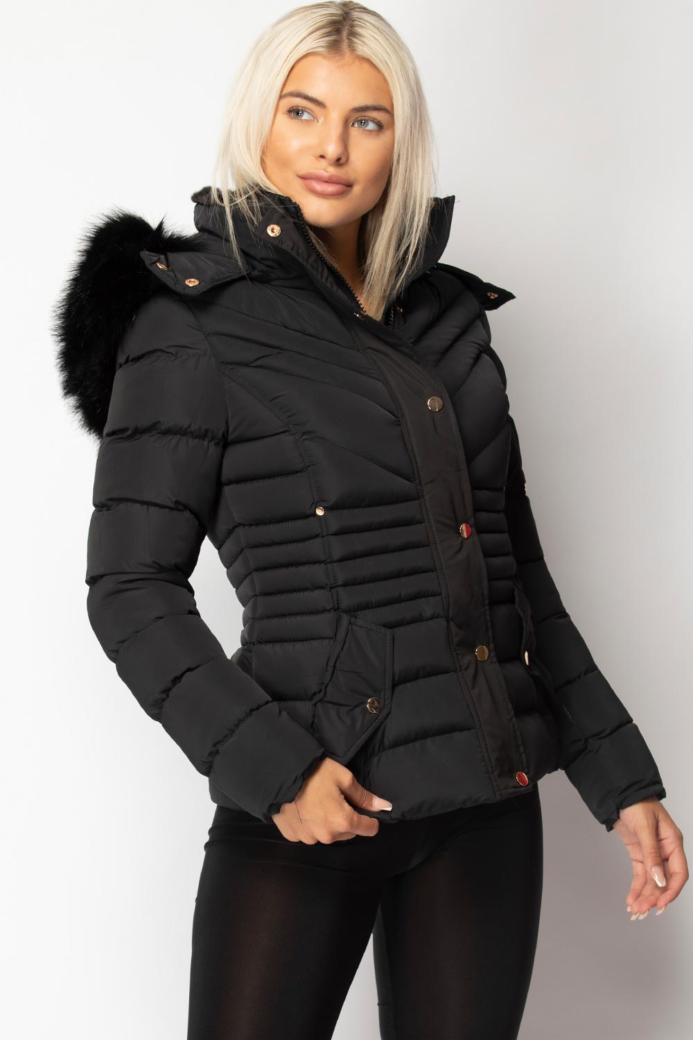 fur hood puffer coat black