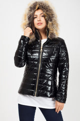 womens black puffer coat uk6