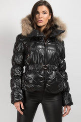 black coat with fur hood womens uk