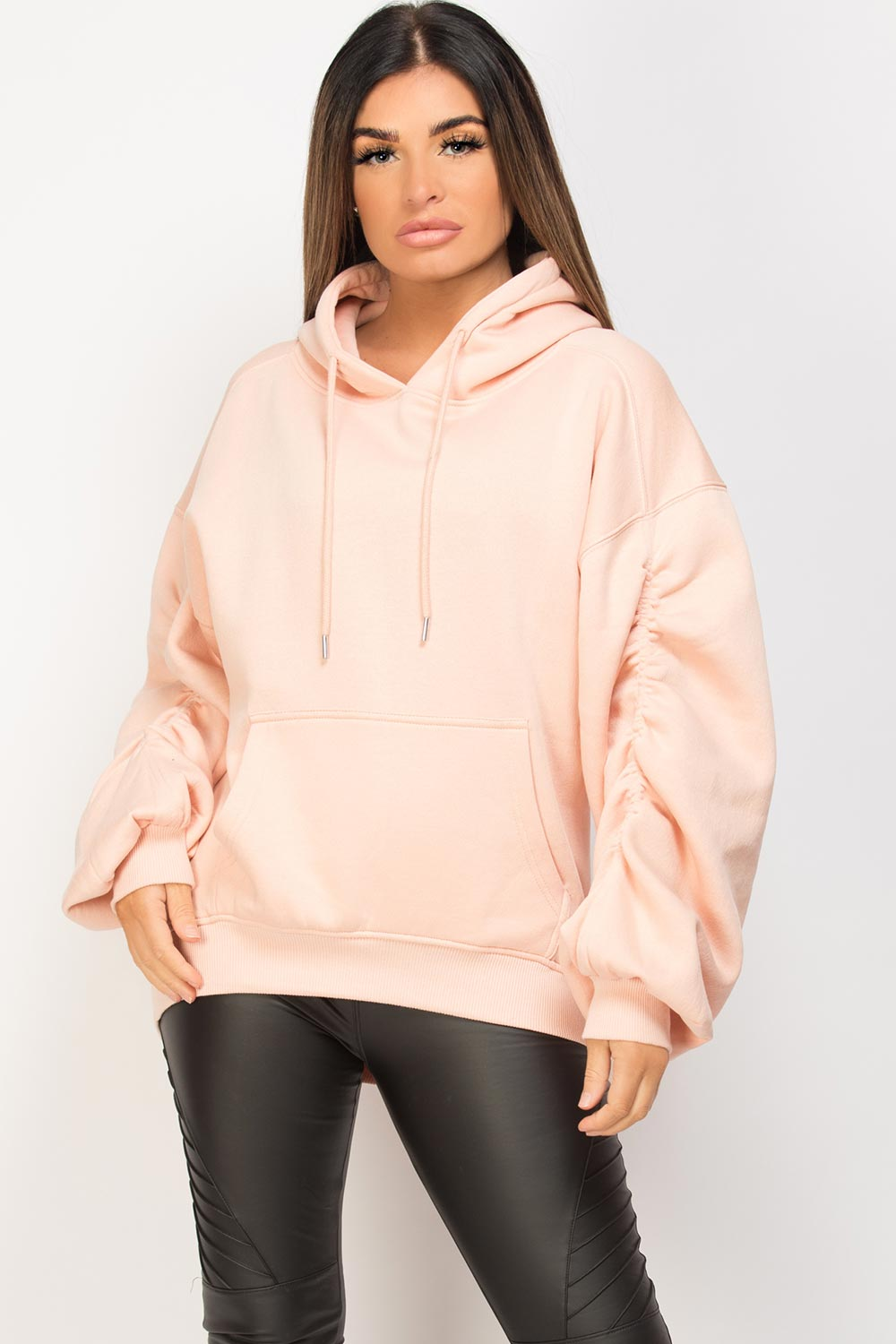 gathered arm oversized hoodie pink