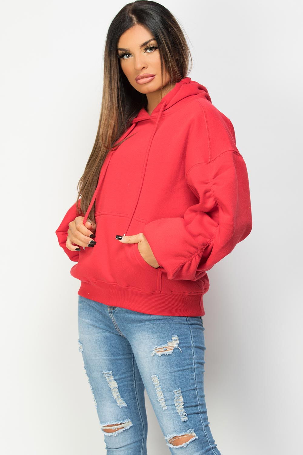 oversized hoodie with ruched sleeves