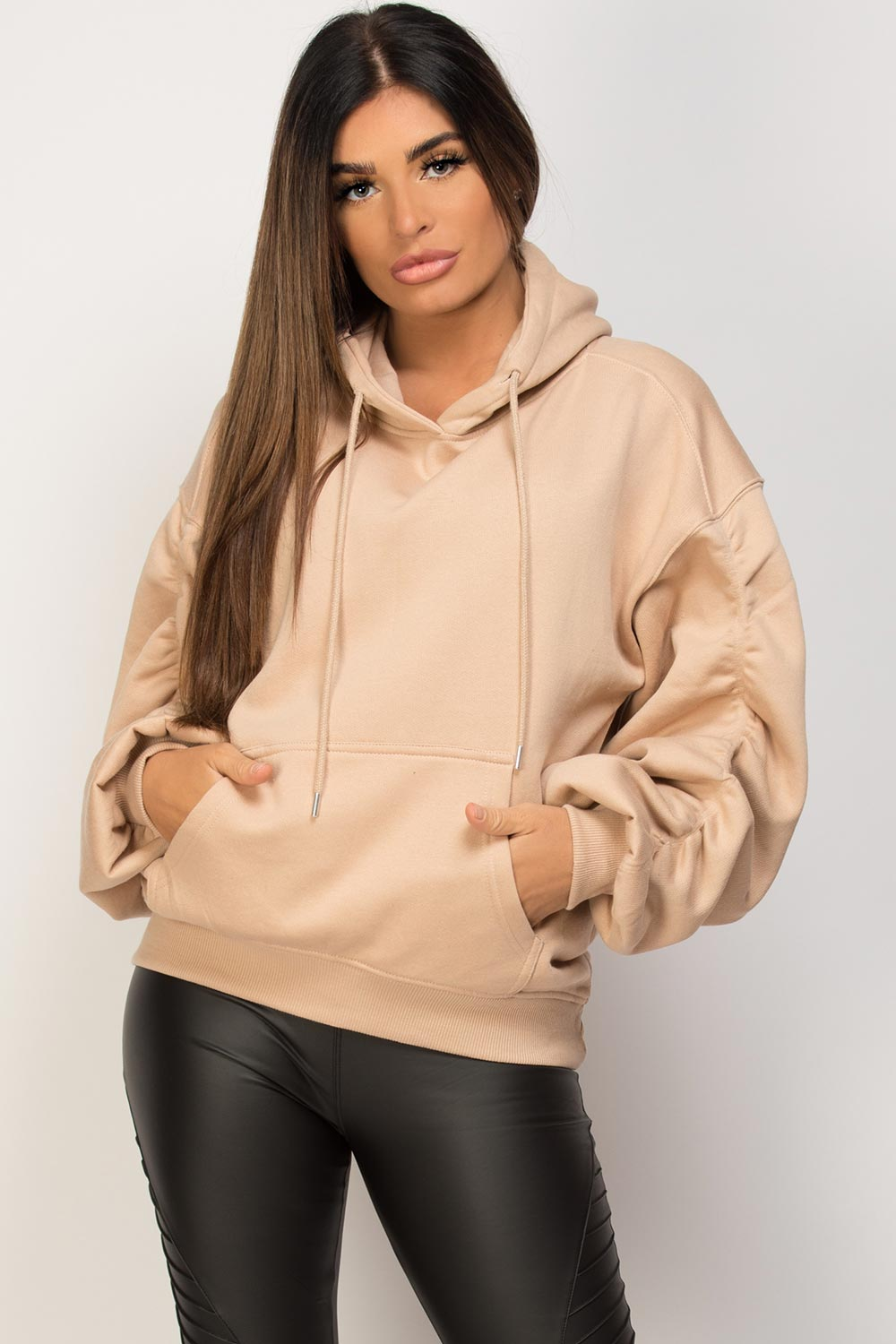 ruched arm oversized hoodie stone