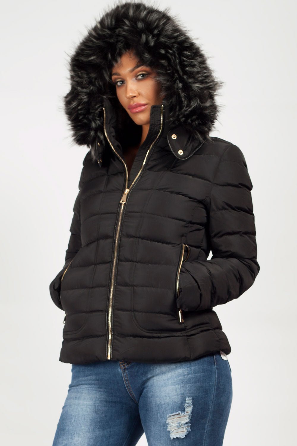 ZARA Women Quilted Anorak With Fur Hood S M L