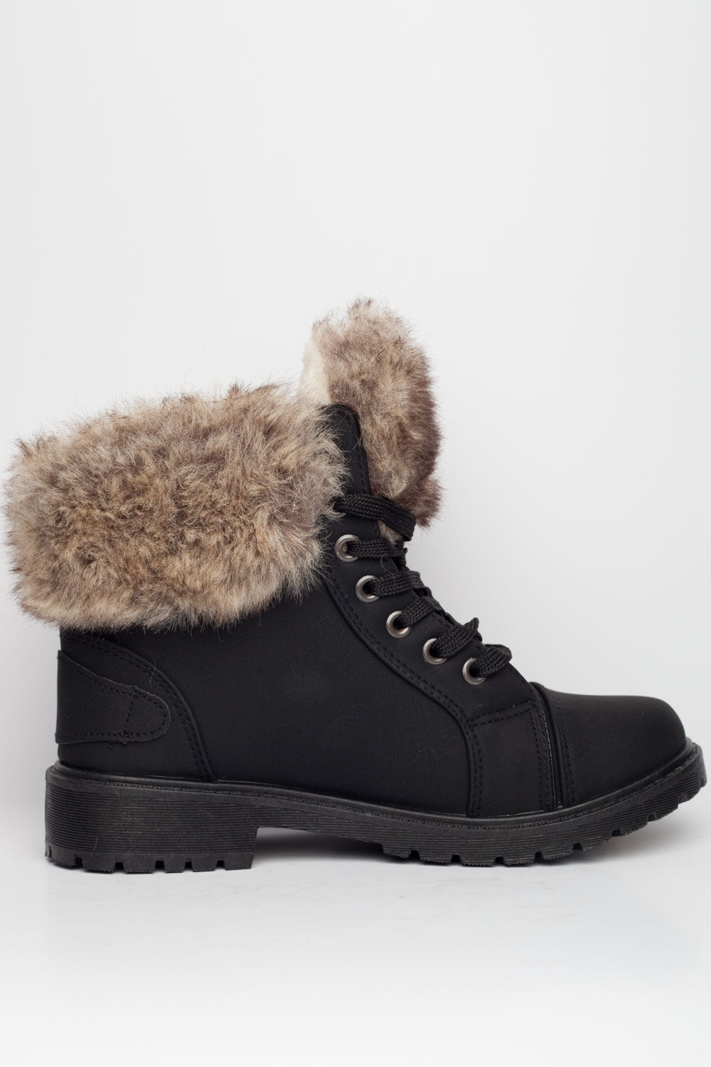 Womens Faux Fur Lined Ankle Boots Black