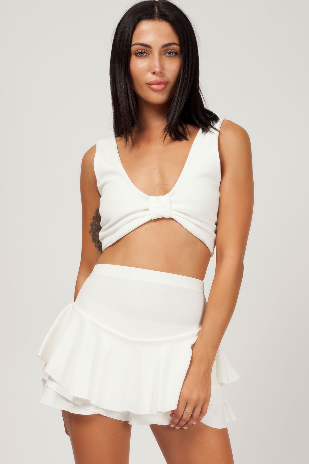 white going out crop top