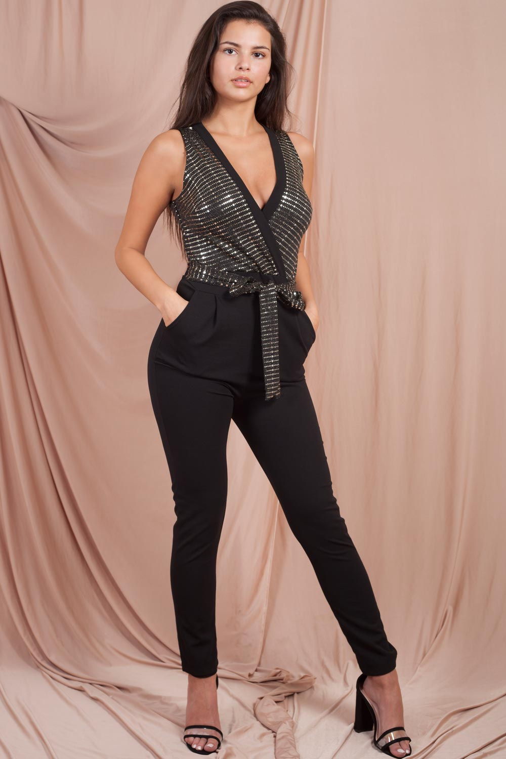 sequin plunge jumpsuit black