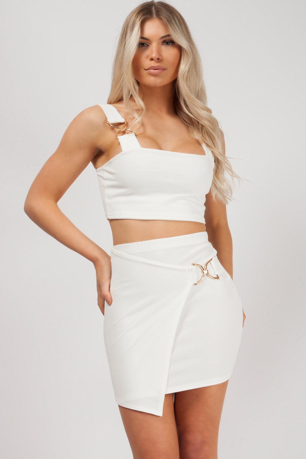 skirt and top set white