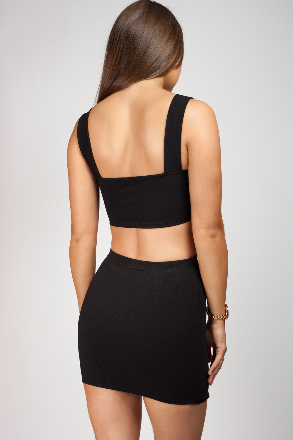black two piece skirt and top