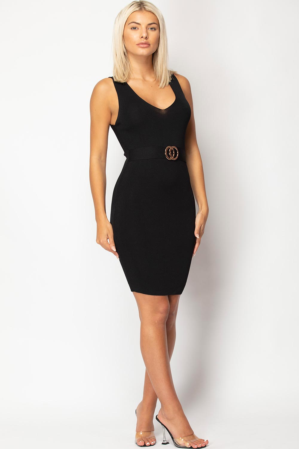 black bodycon dress knitted