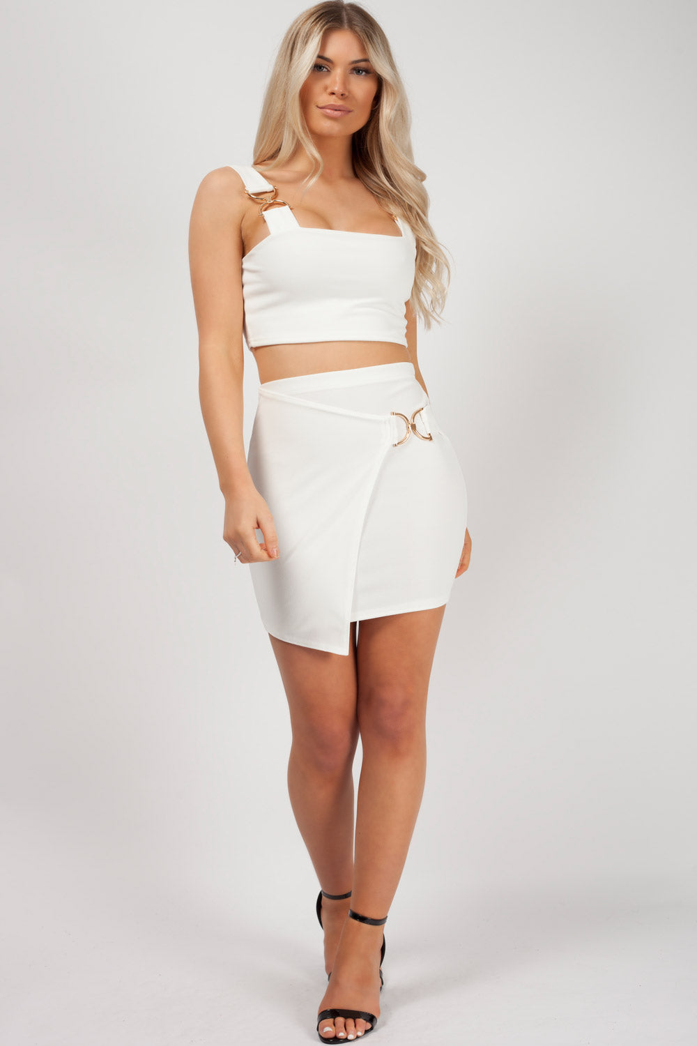 gold buckle skirt and top set