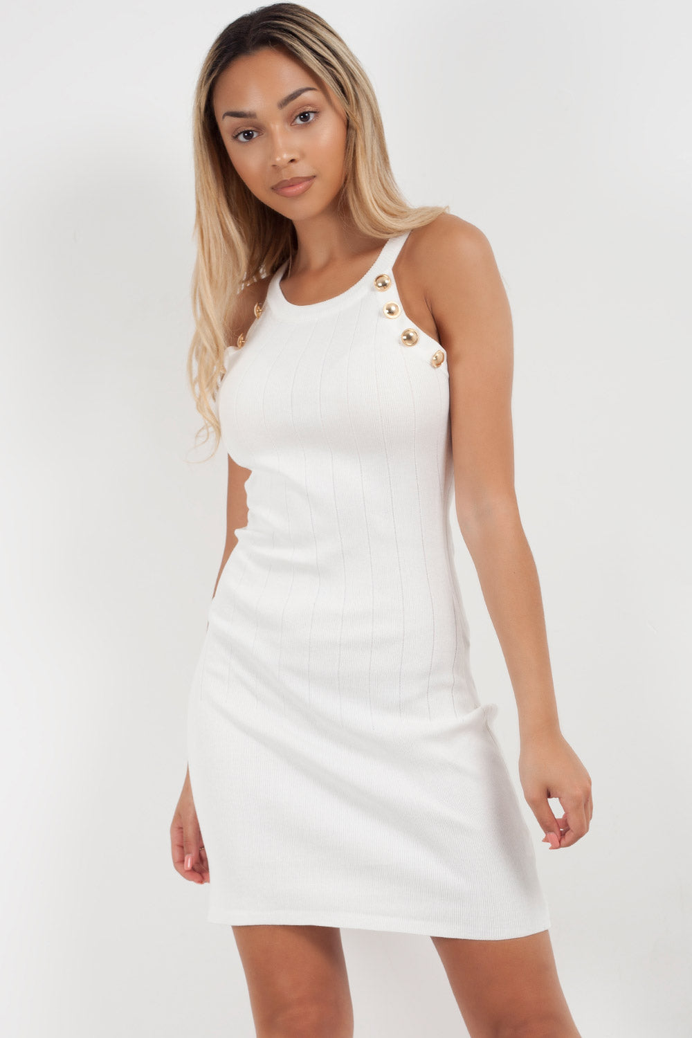 white bodycon midi dress