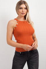 rust knitted vest womens