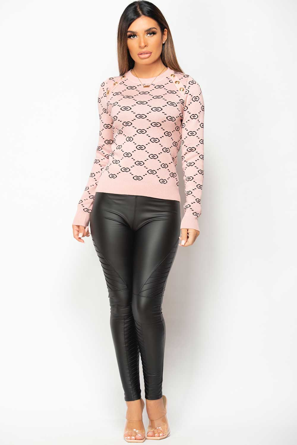 womens pink jumper with gold button shoulder
