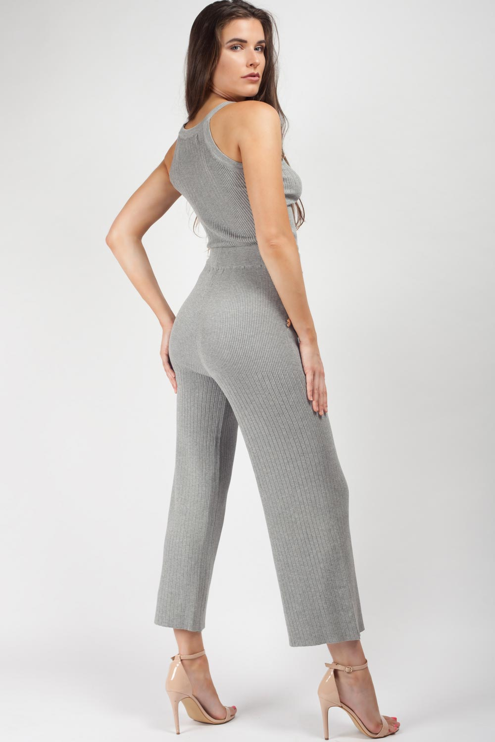 wide leg knitted loungewear set grey