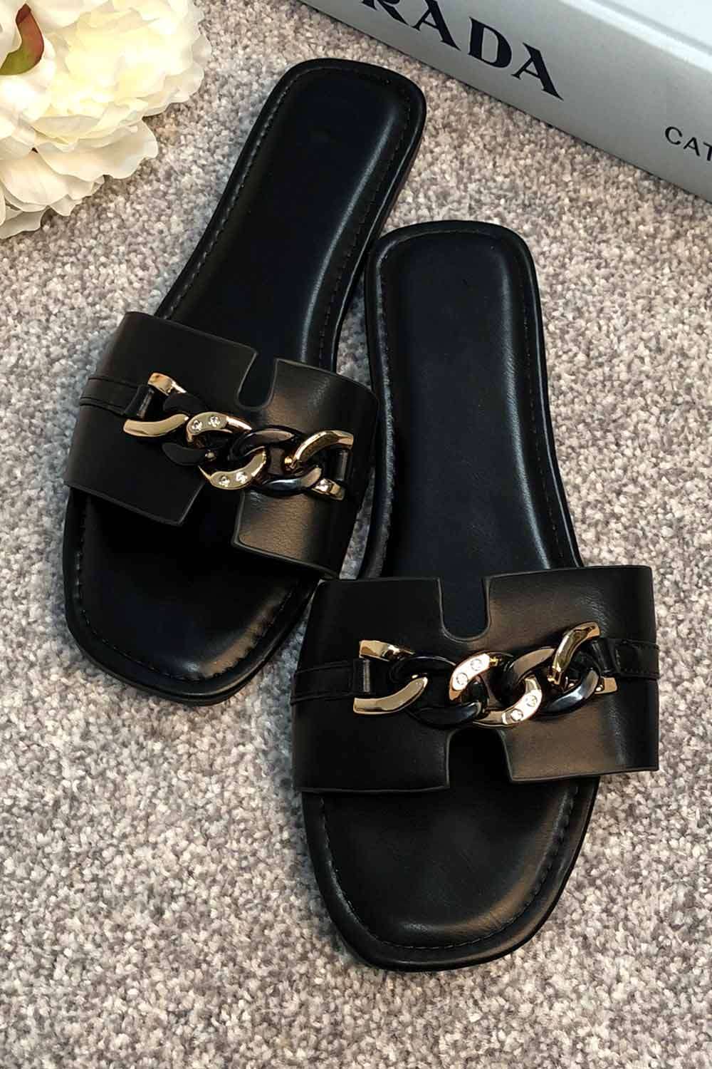 black sliders slip on sandals uk