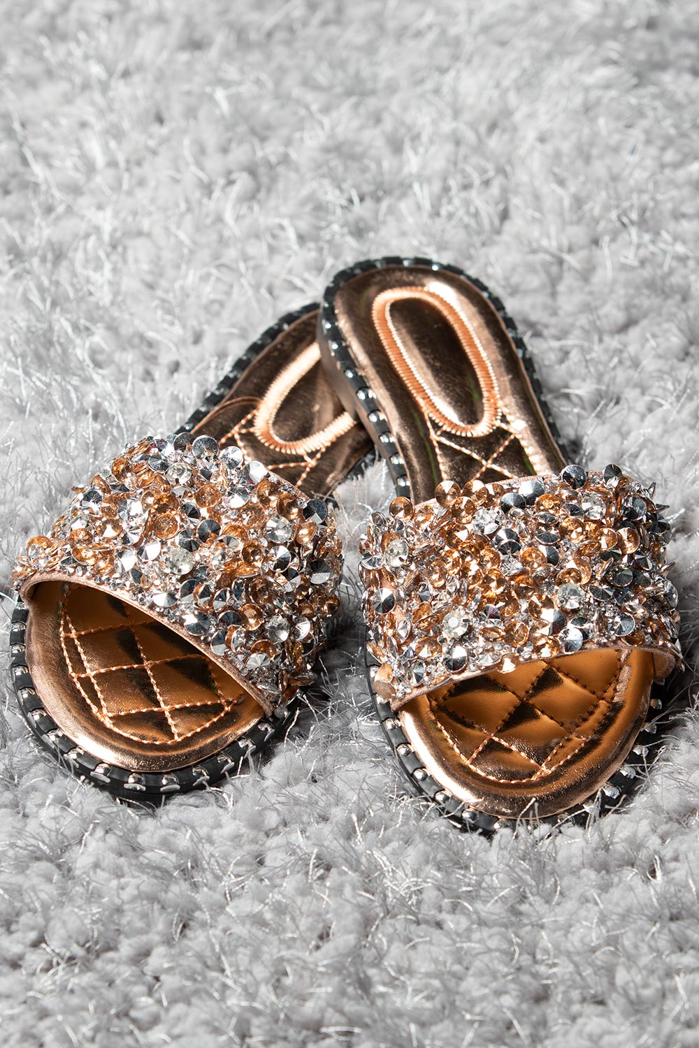 diamante slip on sliders rose gold