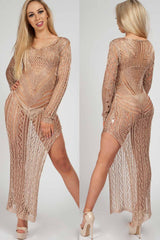 gold knitted maxi dress