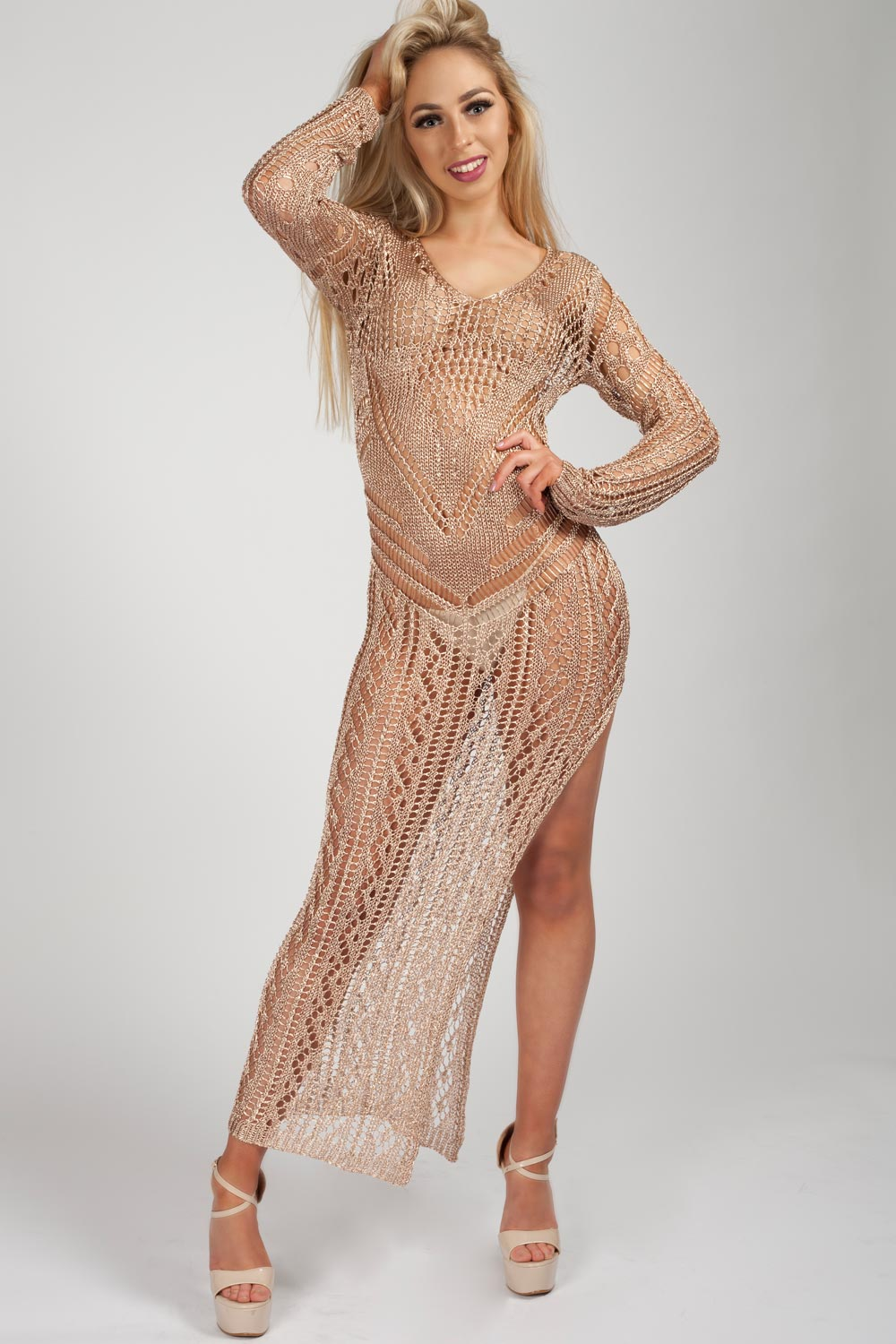 side split knitted maxi dress gold