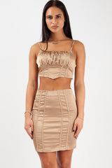 gold satin crop top and skirt set styledup fashion