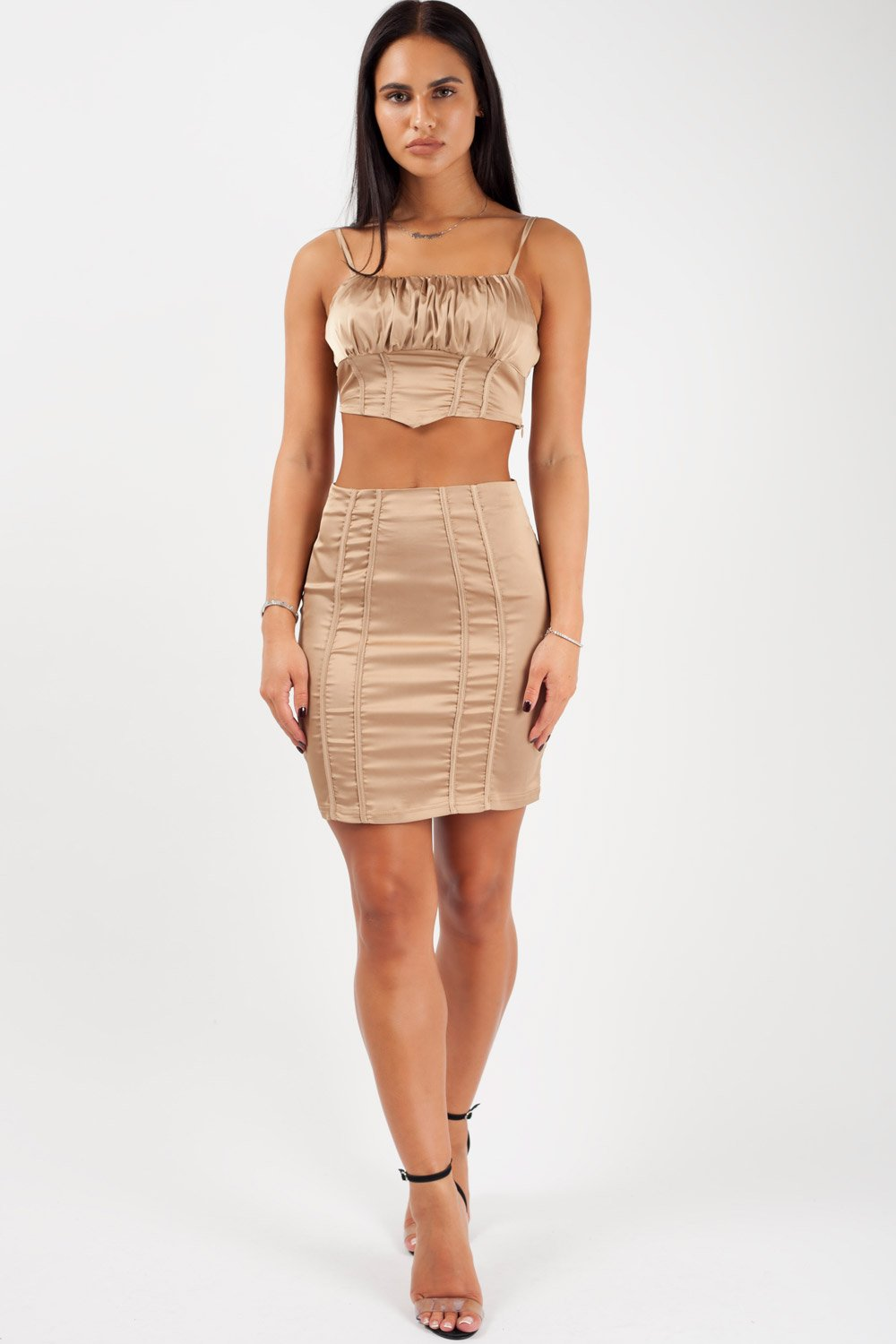 gold crop top and skirt set styledup fashion