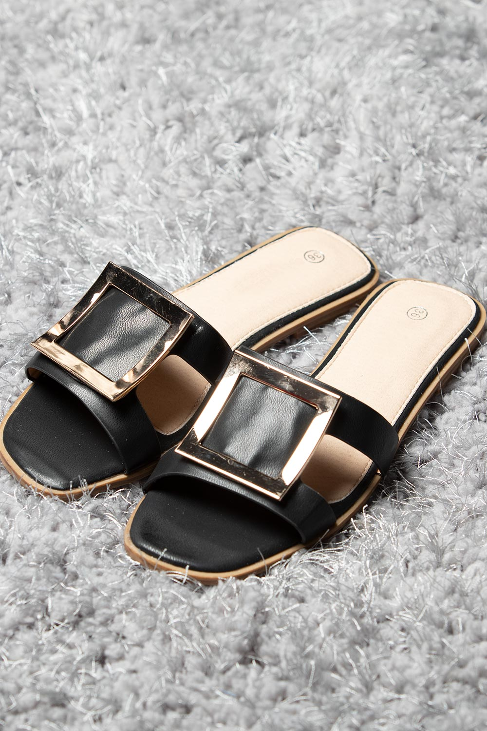 black gold buckle slip on sandals
