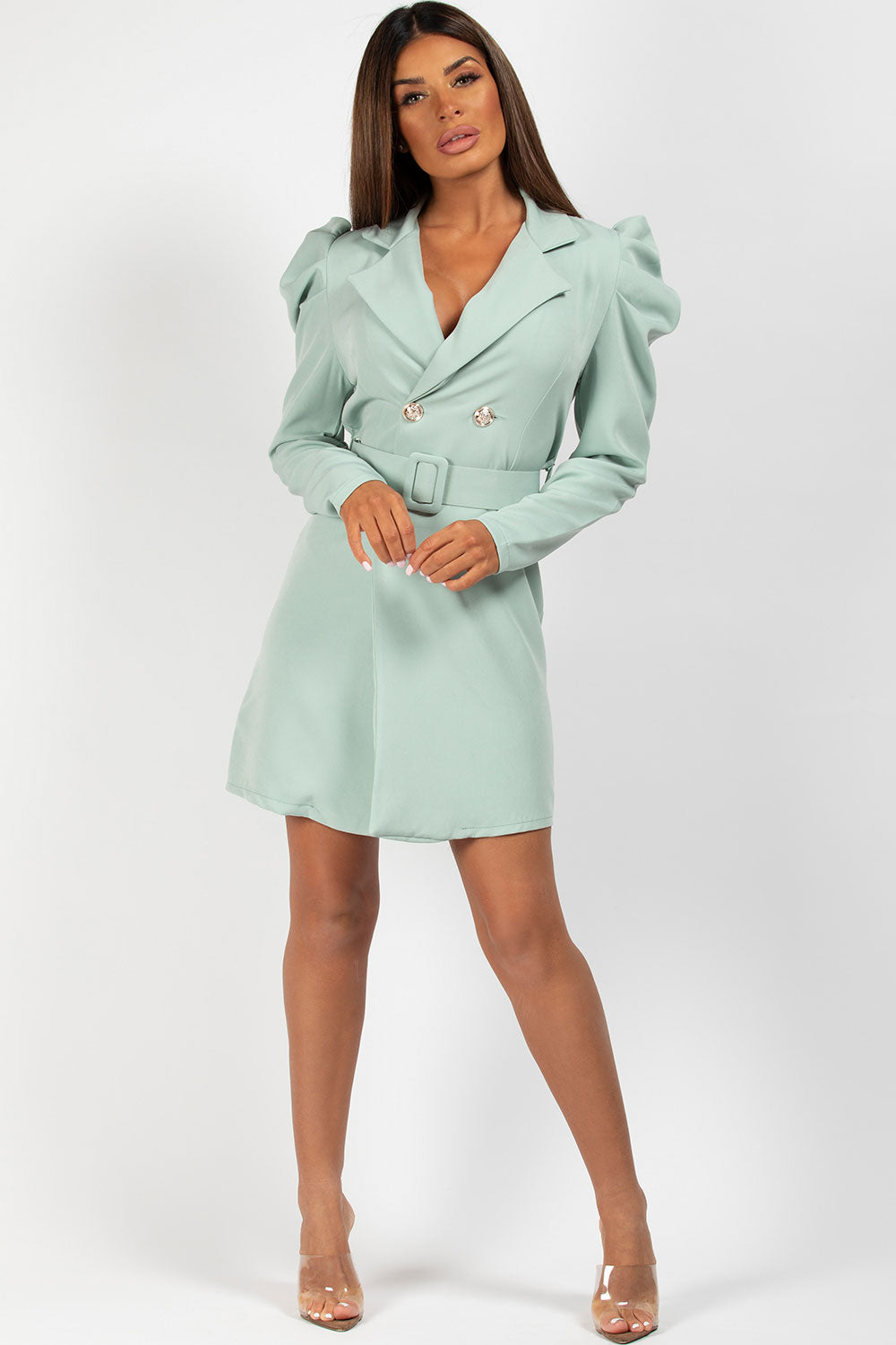 puff sleeve blazer dress belted