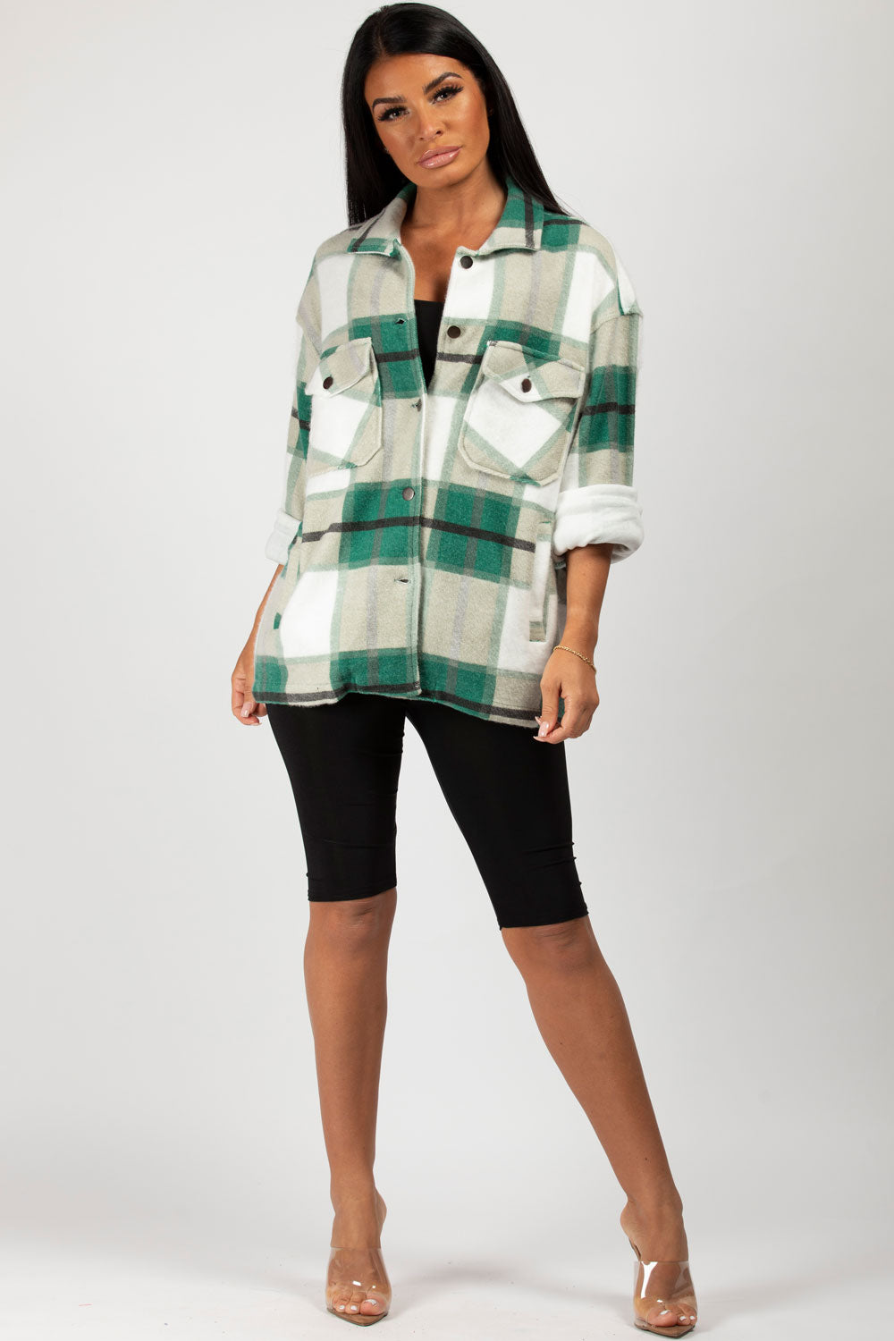 oversized check shirt jacket green