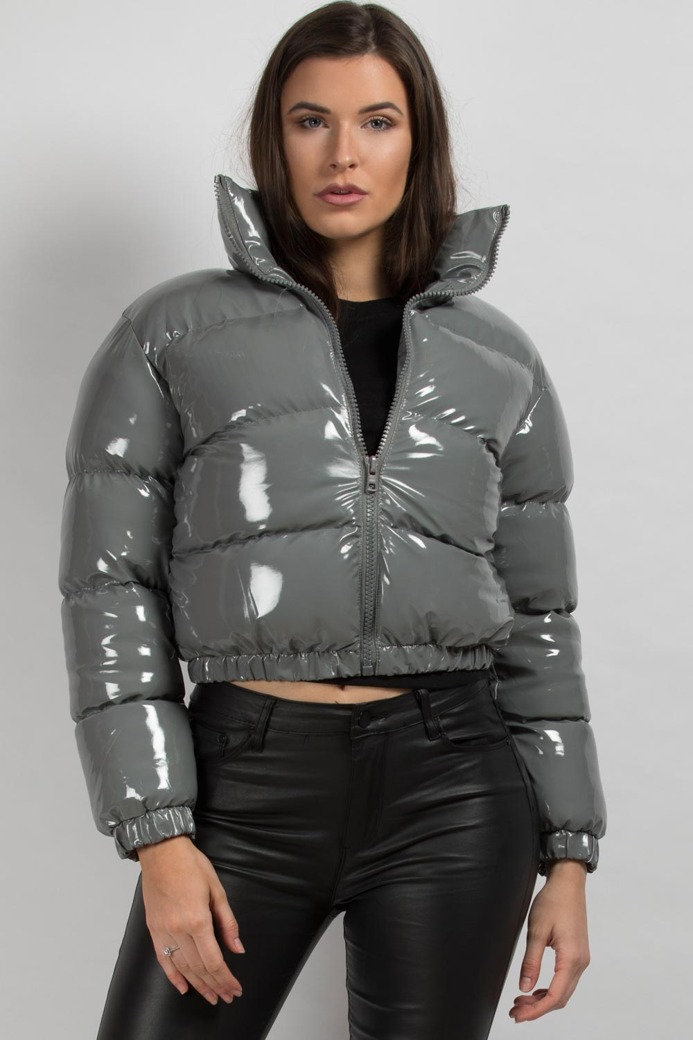shiny puffer jacket grey