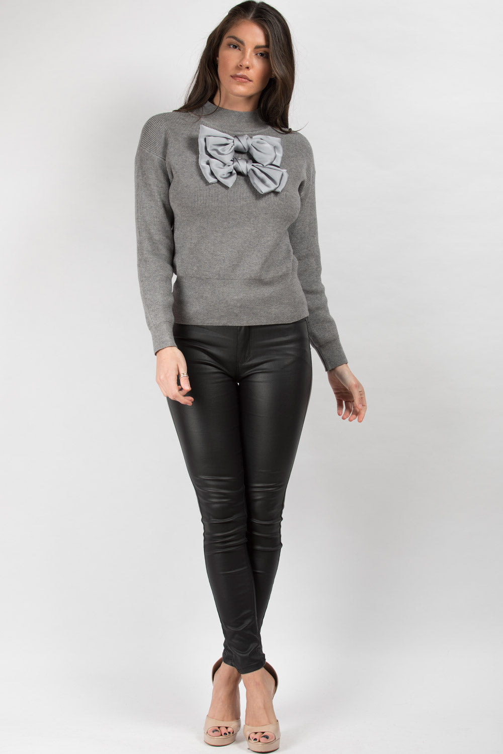 satin bow detail ribbed jumper