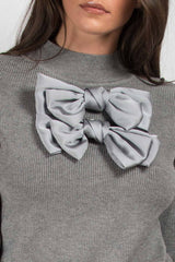double satin bow ribbed jumper