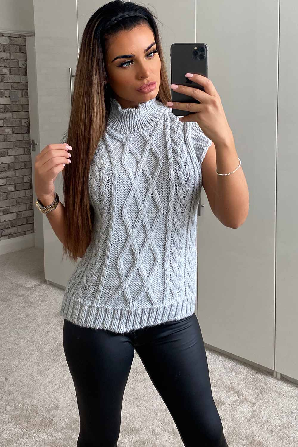 chunky knit grey jumper womens