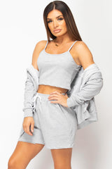 three piece shorts lounge set grey
