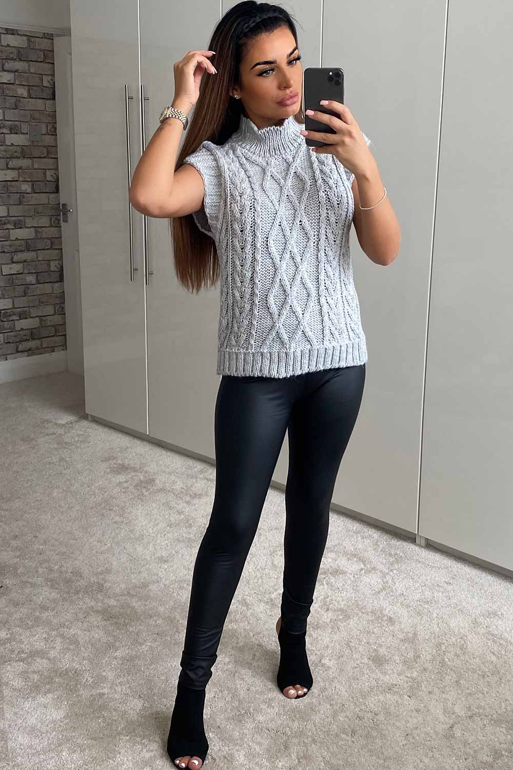 grey cable knit jumper womens
