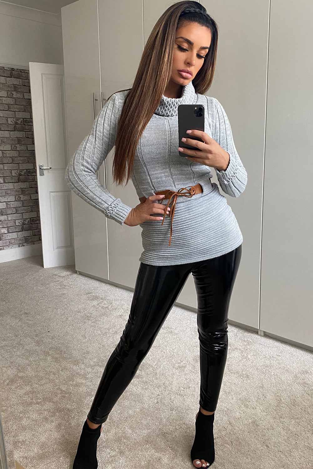 grey long sleeve bodycon jumper