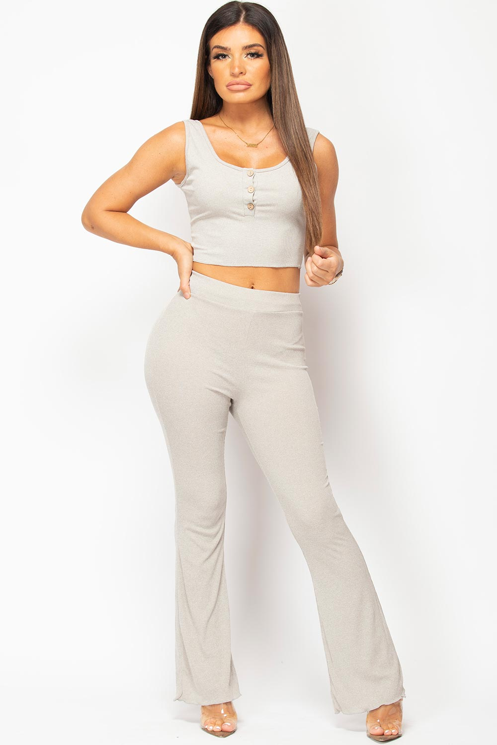button front crop top and wide leg trousers set