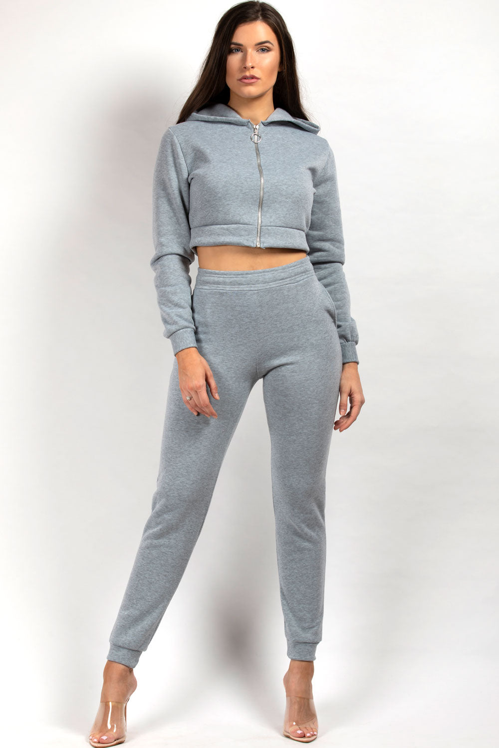 Grey Cropped Hoodie Joggers Loungewear Co-Ord Set