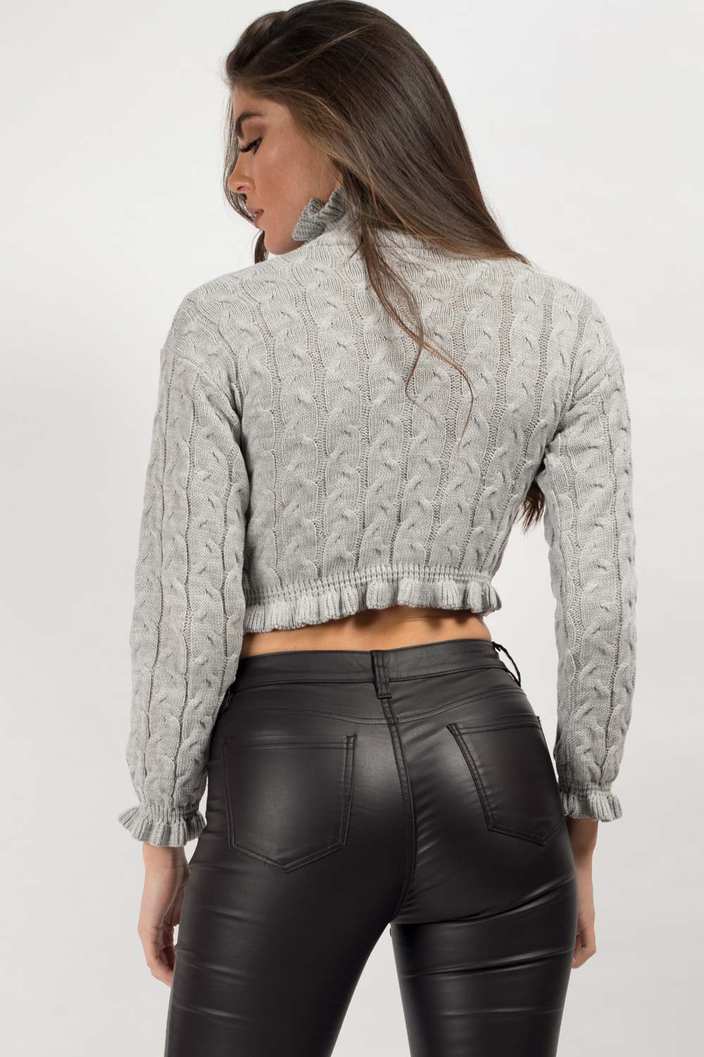 grey ruffle hem crop jumper