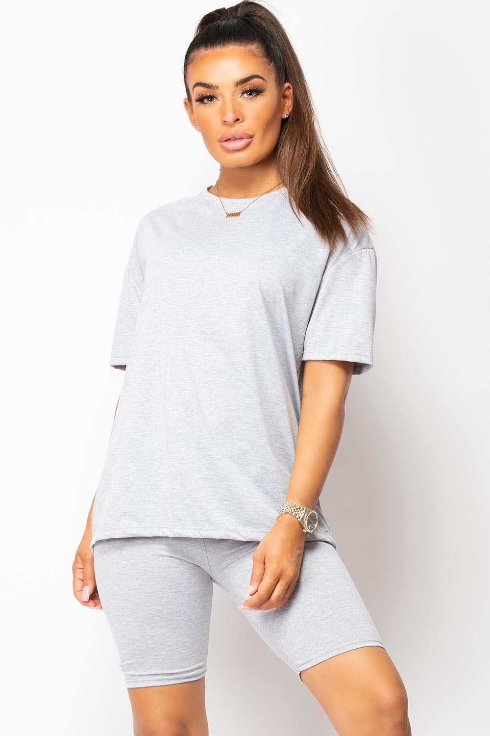 womens oversized t shirt and cycling shorts set grey