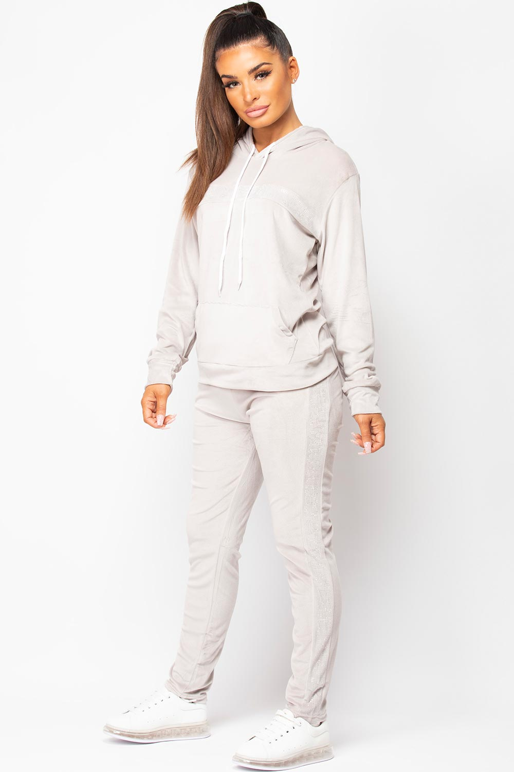 womens grey hooded velour tracksuit set