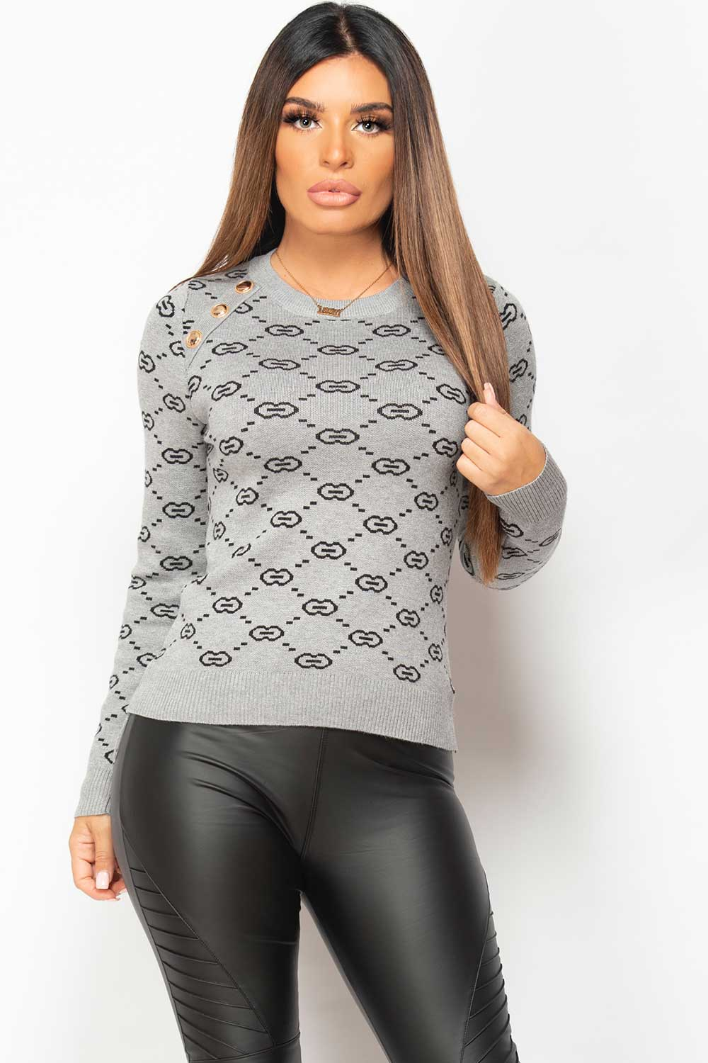 gold button shoulder grey knitted jumper