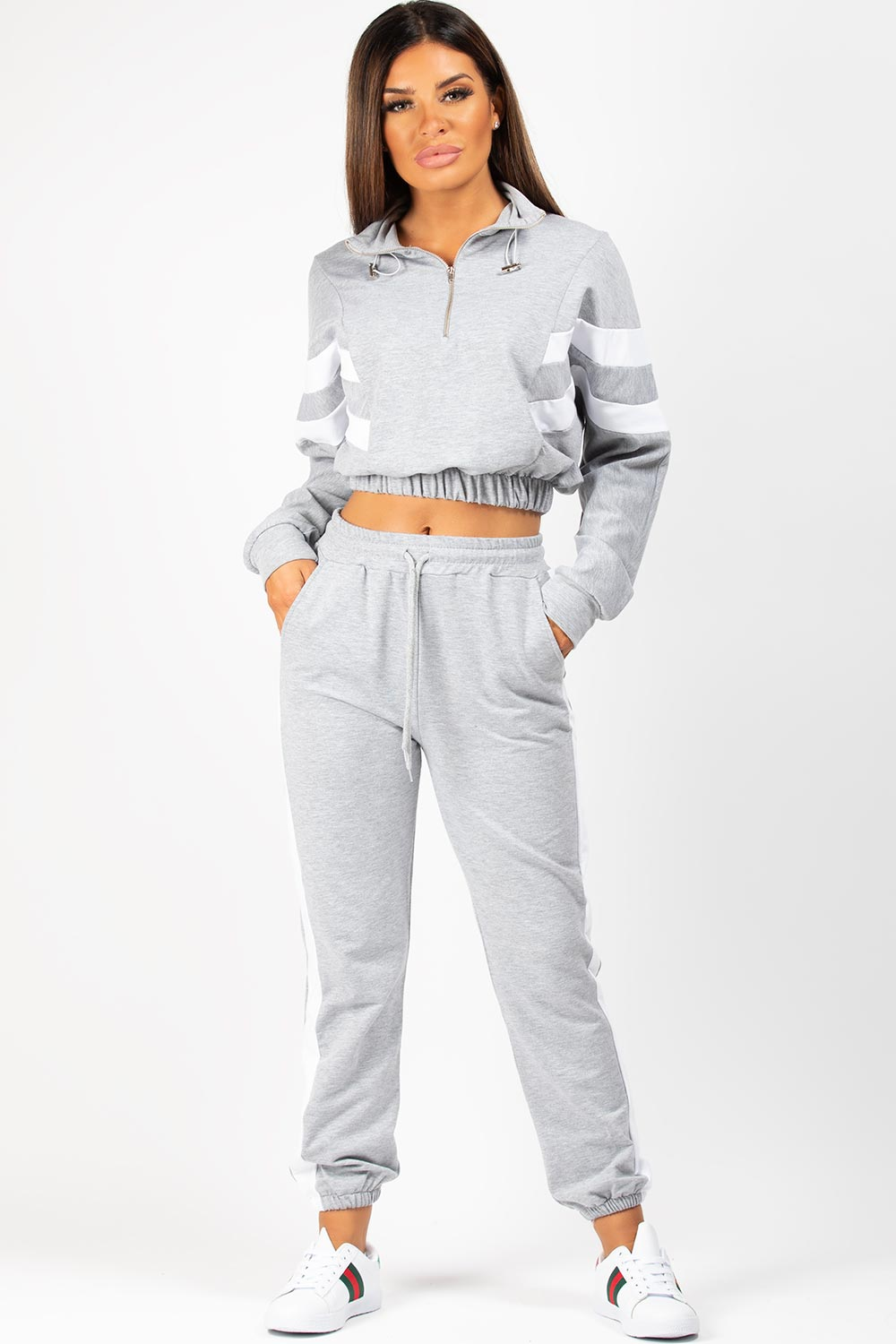 grey white stripe sweatshirt and joggers set