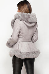 grey faux fur belted jacket