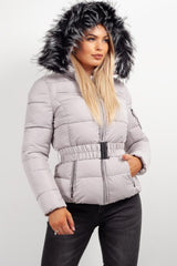 grey fur hooded puffer jacket womens