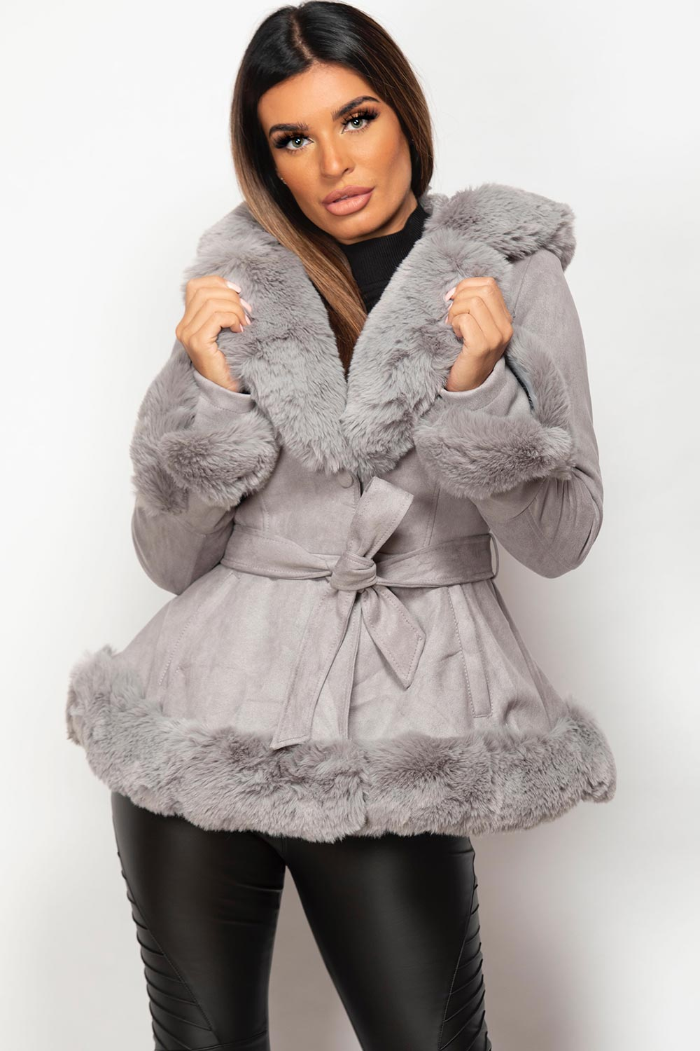 grey faux fur faux suede hooded belted jacket