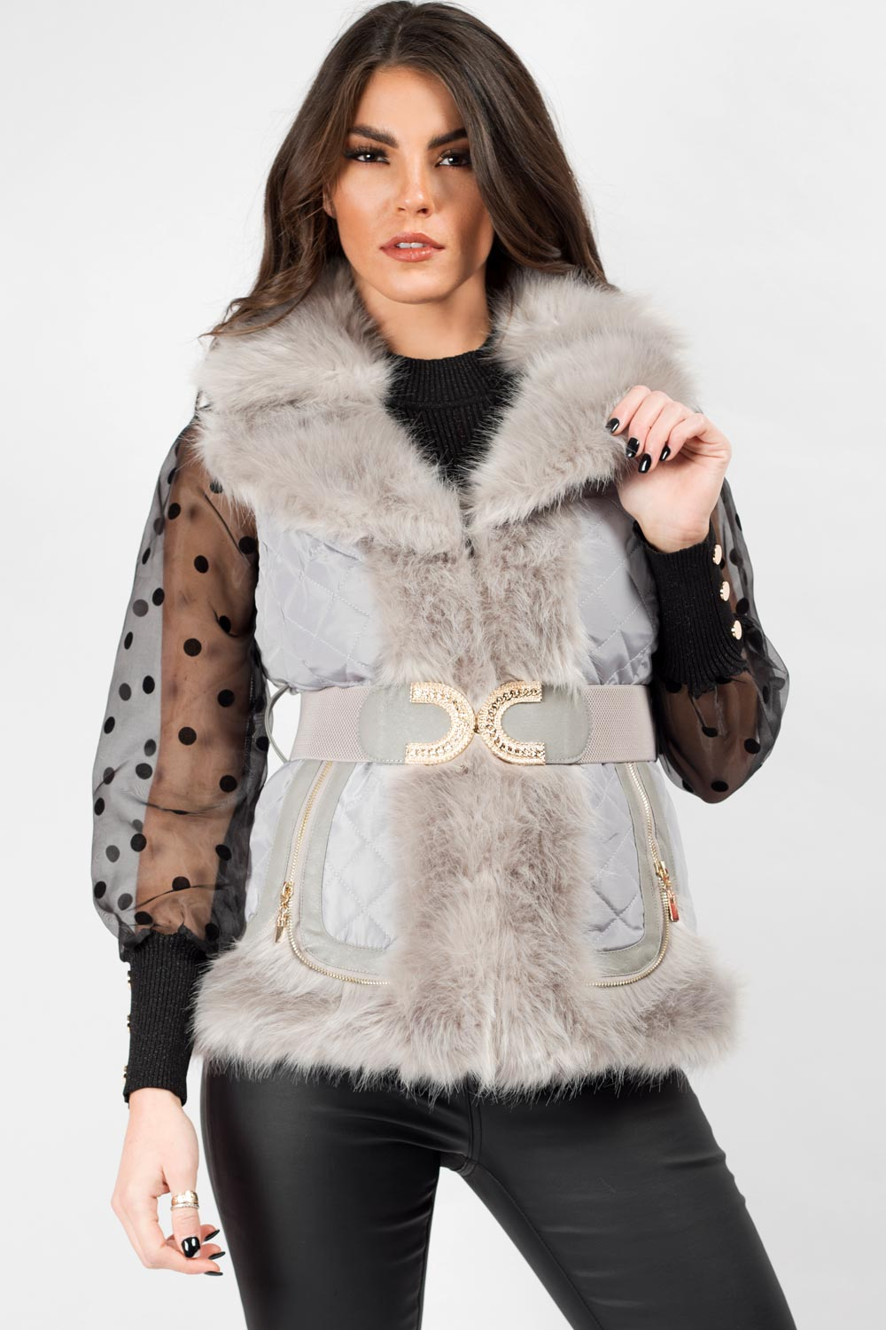 Grey Faux Fur Gilet With Gold Belt