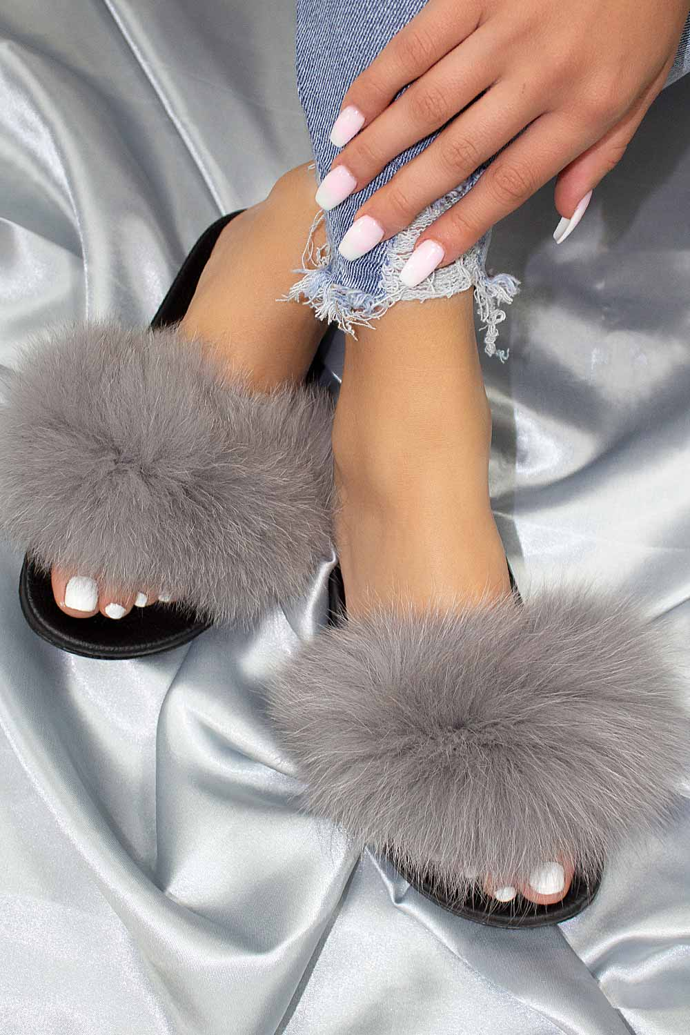 grey real fur sliders uk